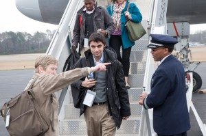 The author steps off the plane in Alabama. (Credit: Byron Buck)